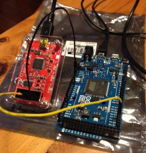 avr11 running on an Arduino Due with a Bus Pirate frequency counter.