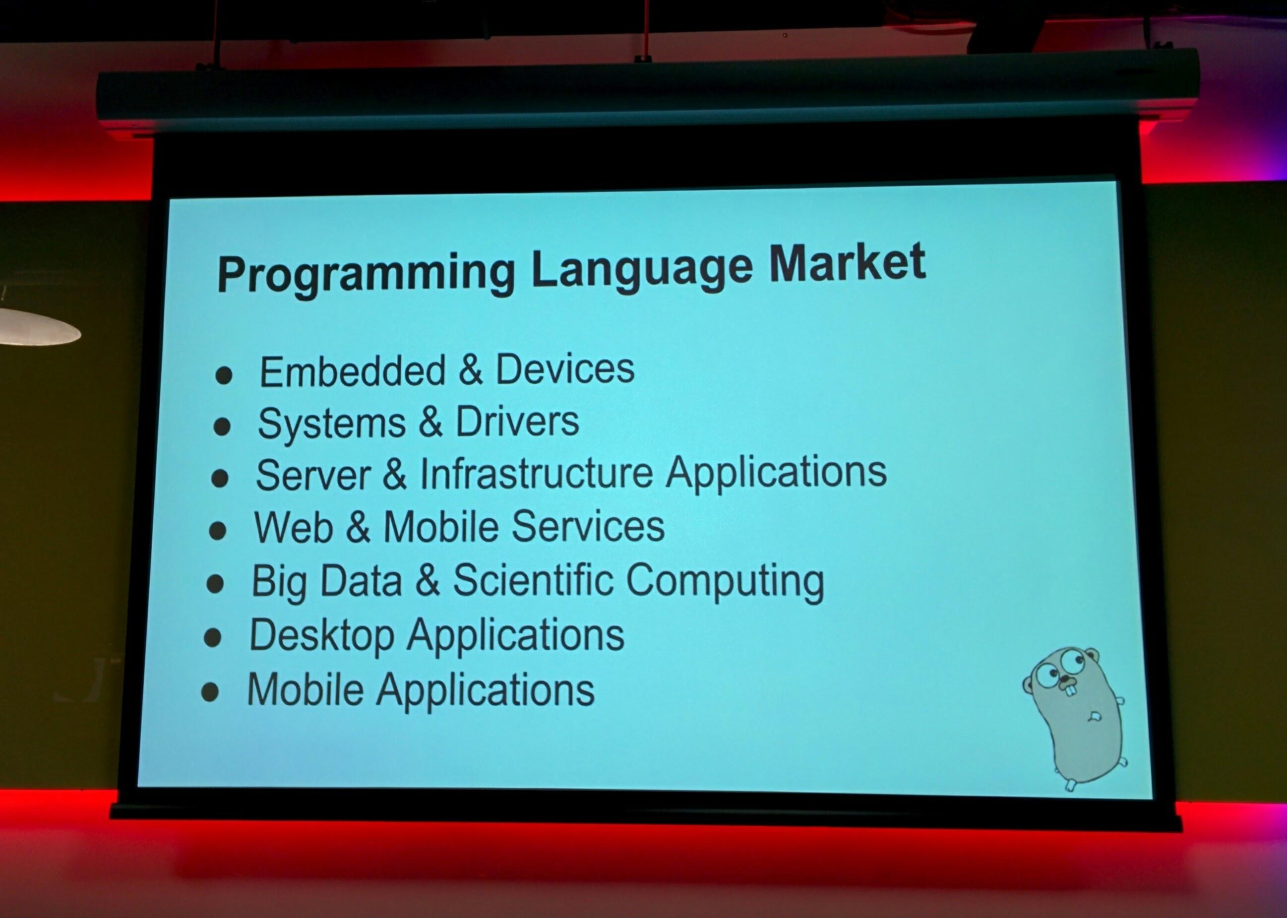 Programming Language market for Go, courtesy Jason Buberel